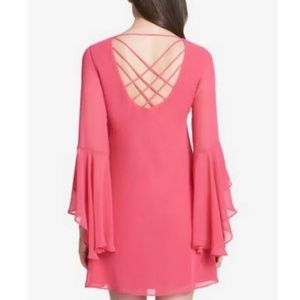 Kensie pink bell sleeve mini shift dress 6 chiffon